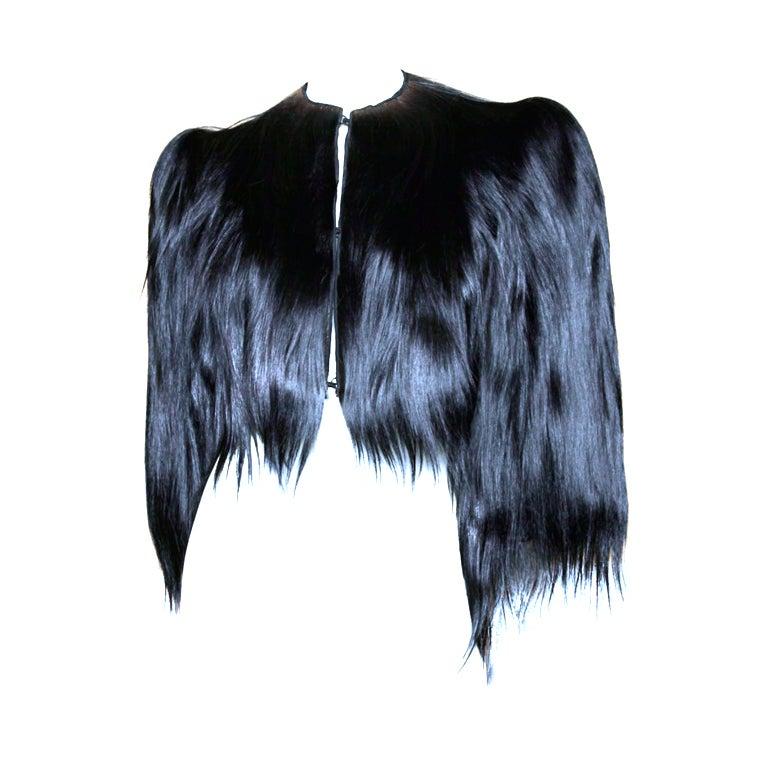 Vintage 1940's Glossy Black Colobus Monkey Fur Jacket 1