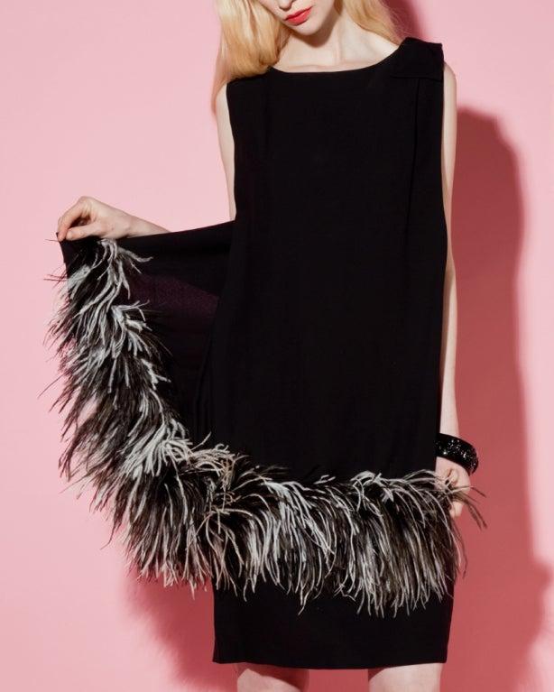 Vintage Black + White Maribou Feather 1960's Cocktail Dress 10