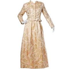 Larry Aldrich Vintage 1960s Beaded Brocade Jacket + Dress Set