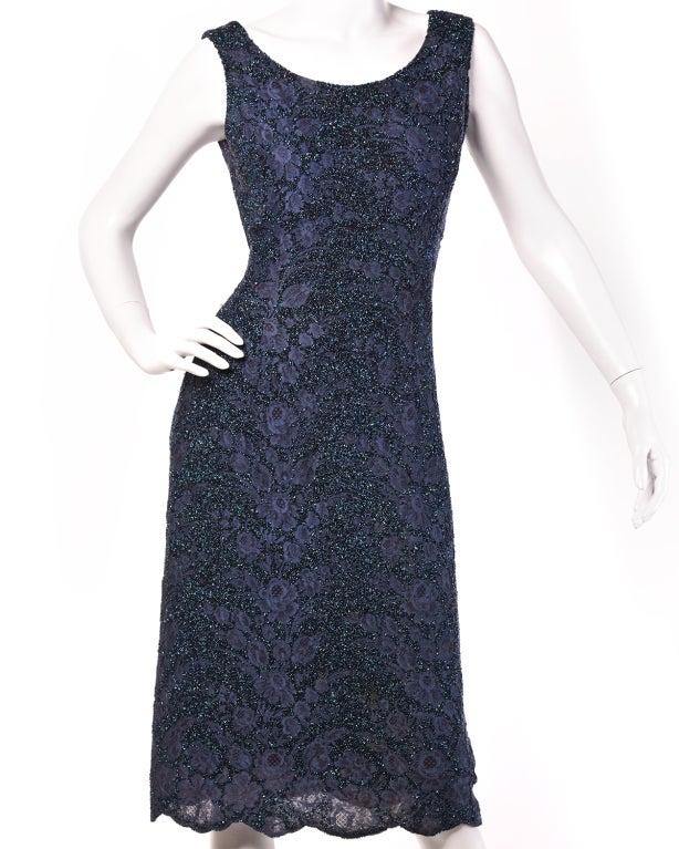 Black Couture Mingolini Gugenheim Vintage Beaded Dress+ Jacket For Sale
