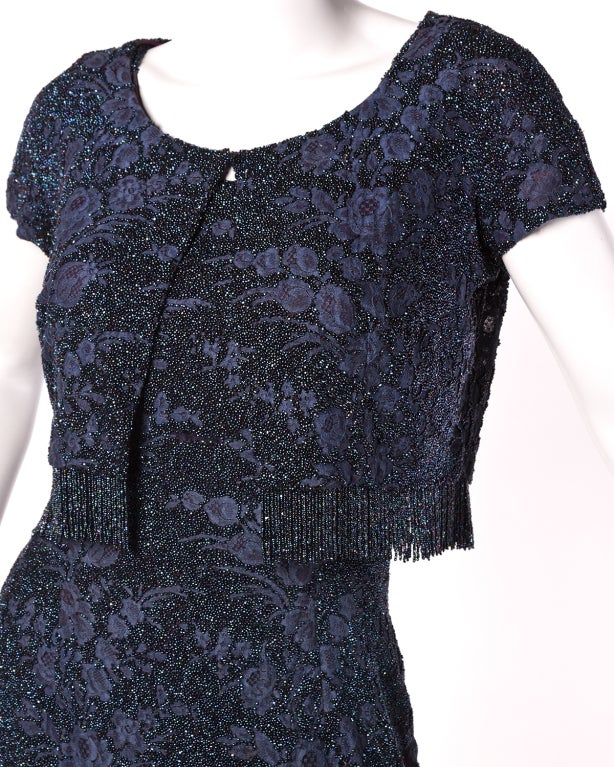 Women's Couture Mingolini Gugenheim Vintage Beaded Dress+ Jacket For Sale
