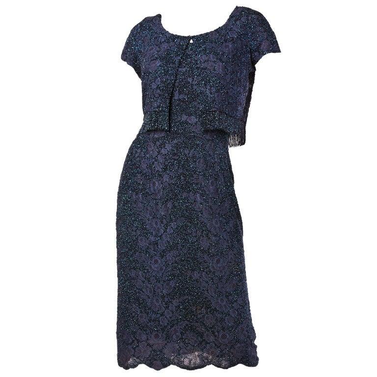 Couture Mingolini Gugenheim Vintage Beaded Dress+ Jacket