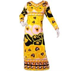 Mr. Dino Vintage 1960's Signed Border Print Long Maxi Dress