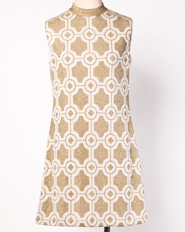 Pierre Balmain Vintage 1960s Geometric Metallic Gold Shift Dress 2