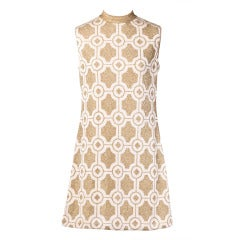 Pierre Balmain Vintage 1960s Geometric Metallic Gold Shift Dress