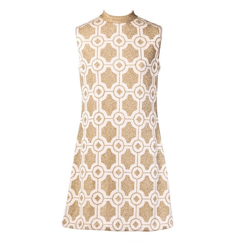 Pierre Balmain Vintage 1960s Geometric Metallic Gold Shift Dress 1