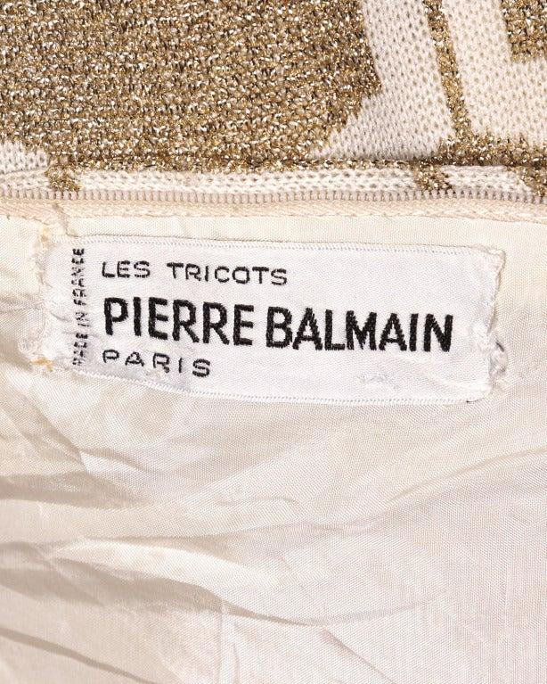Pierre Balmain Vintage 1960s Geometric Metallic Gold Shift Dress 3