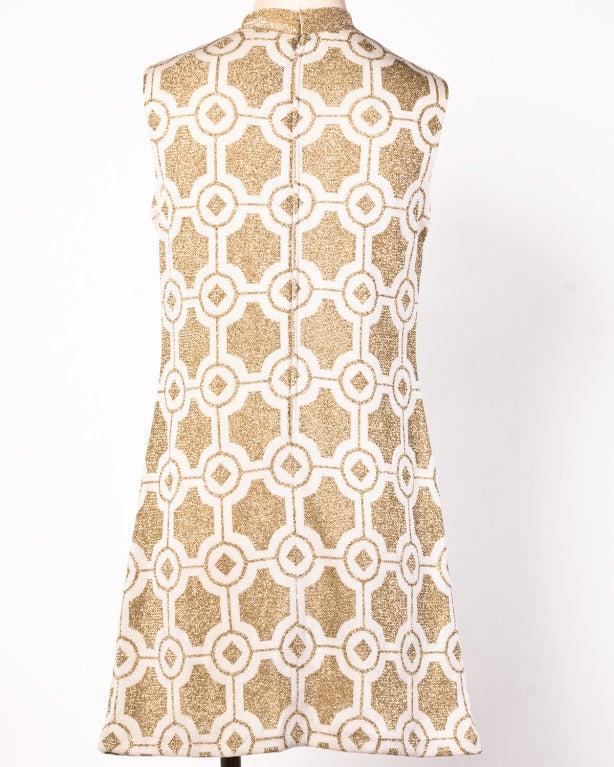 Pierre Balmain Vintage 1960s Geometric Metallic Gold Shift Dress 5