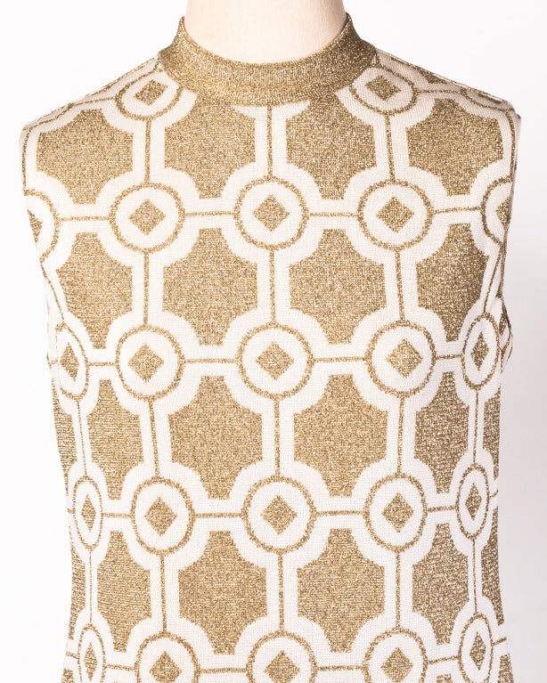 Pierre Balmain Vintage 1960s Geometric Metallic Gold Shift Dress 6