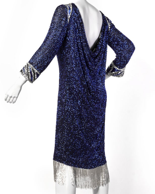 Bob Mackie Vintage Beaded + Sequin Fringe Silk Flapper Dress For Sale 2