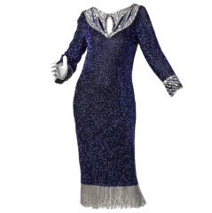 Bob Mackie Vintage Beaded + Sequin Fringe Silk Flapper Dress