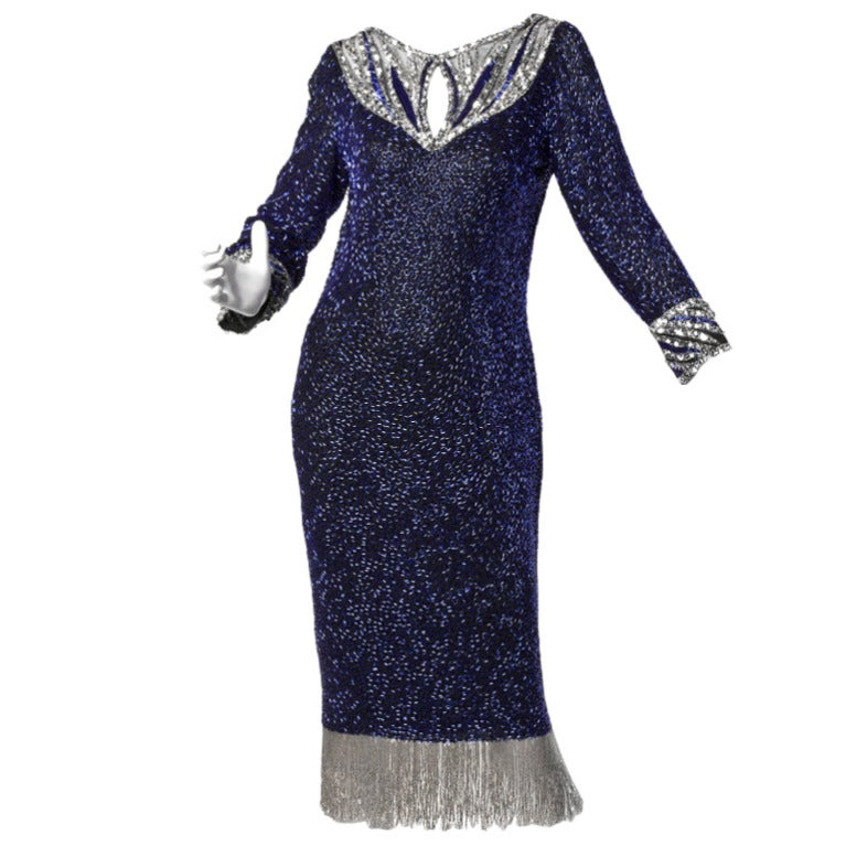 Bob Mackie Vintage Beaded + Sequin Fringe Silk Flapper Dress For Sale