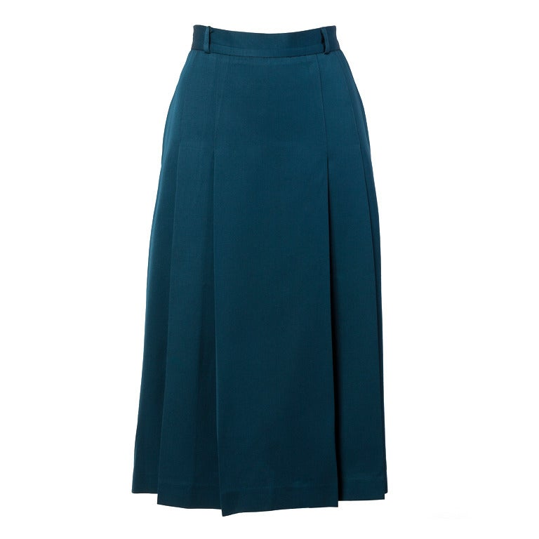 givenchy 100 wool vintage blue green pleated midi skirt