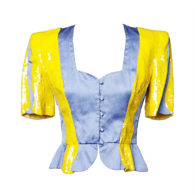Carolina Herrera for Neiman Marcus Vintage Sequin Peplum Jacket