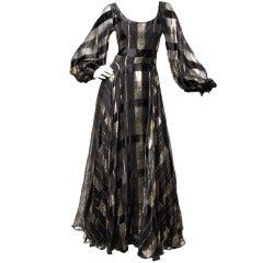 Ruben Panis Dress Vintage 1970's Silk Chiffon Metallic Gown