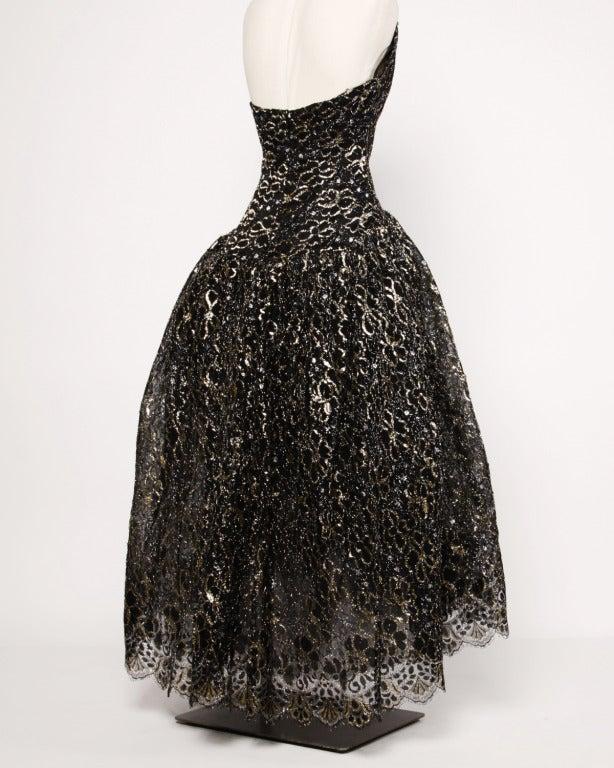 Scaasi 80s Vintage Metallic Black Lace Strapless Dress 4