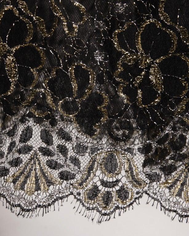 Scaasi 80s Vintage Metallic Black Lace Strapless Dress 6