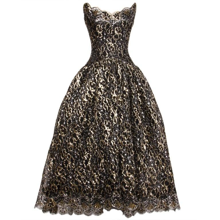 Scaasi 80s Vintage Metallic Black Lace Strapless Dress 1