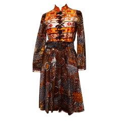 Vintage Geoffrey Beene Boutique Printed Dress + Belt