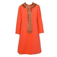 Deadstock Unworn Pristine 1960s Irene Beaded Shift Dress in Tangerine