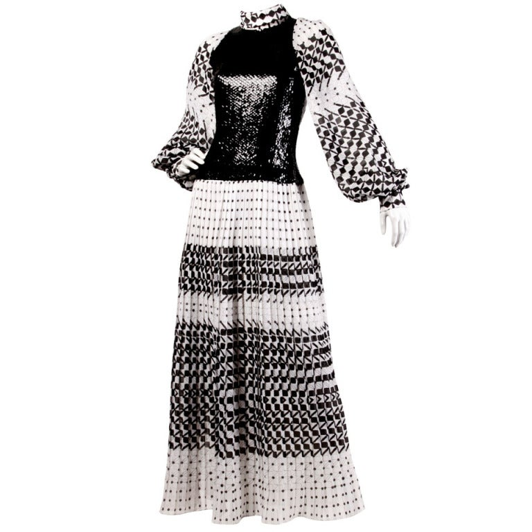 Marcel Fenez for Roland Klein Vintage 70s Graphic Op Art Sequin Maxi Dress For Sale