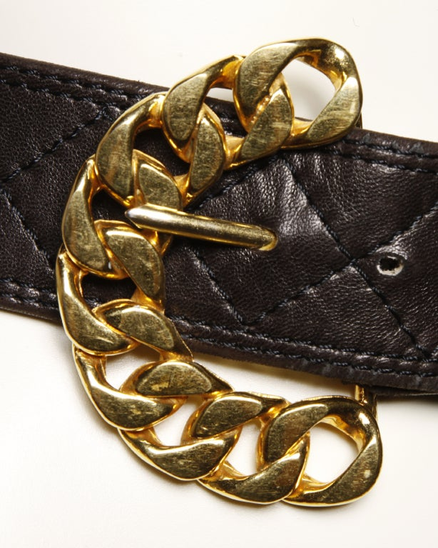 Vintage 80's Jean L'Insolite Buttery Leather Chain Belt image 3
