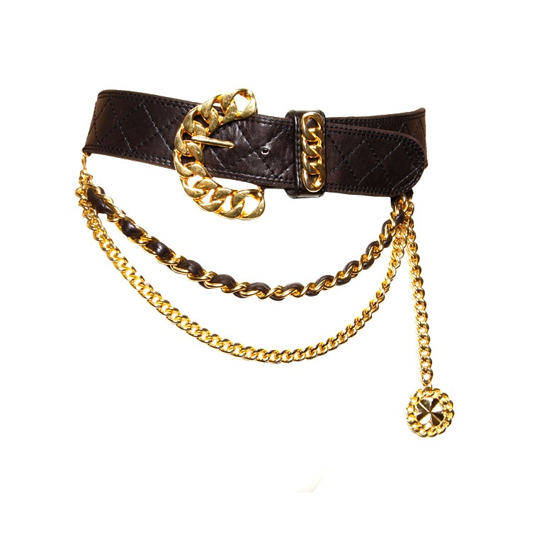 Vintage 80's Jean L'Insolite Buttery Leather Chain Belt