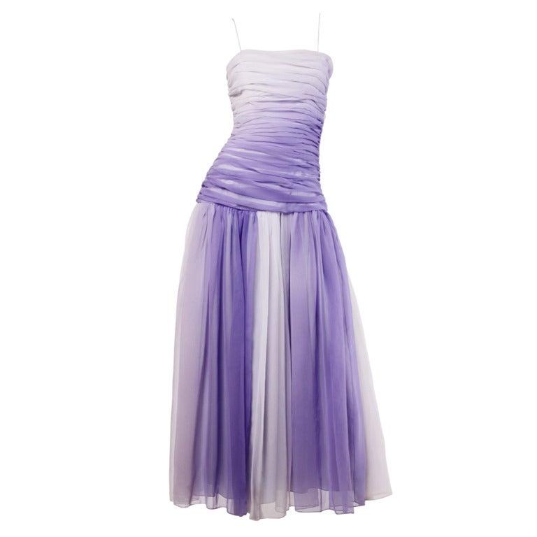 Bill Blass Vintage Purple Ombre Chiffon Ruched Dip Dye Maxi Dress at ...