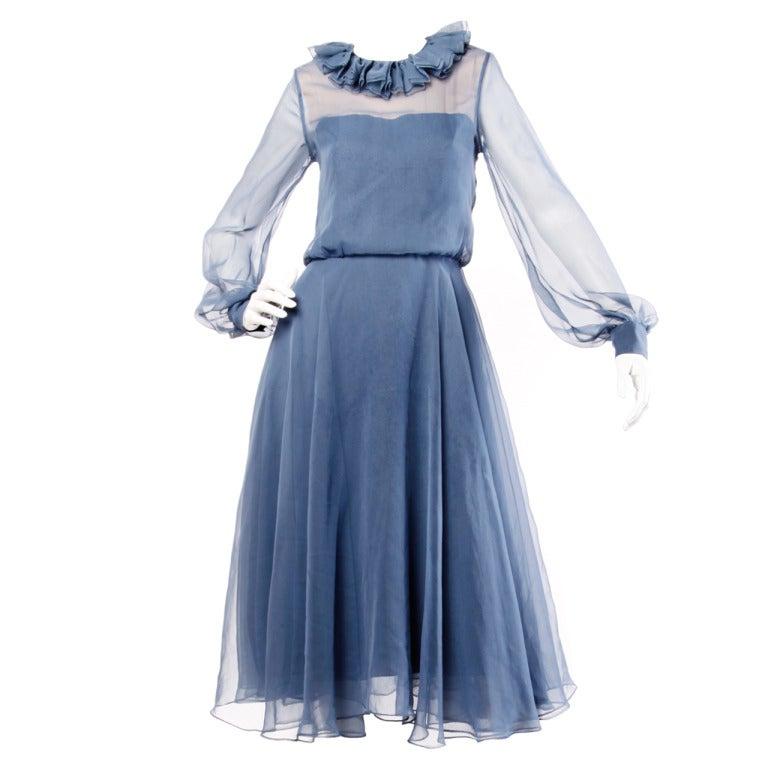 Richilene for Elizabeth Arden 1970s Blue Sheer Silk Midi Dress