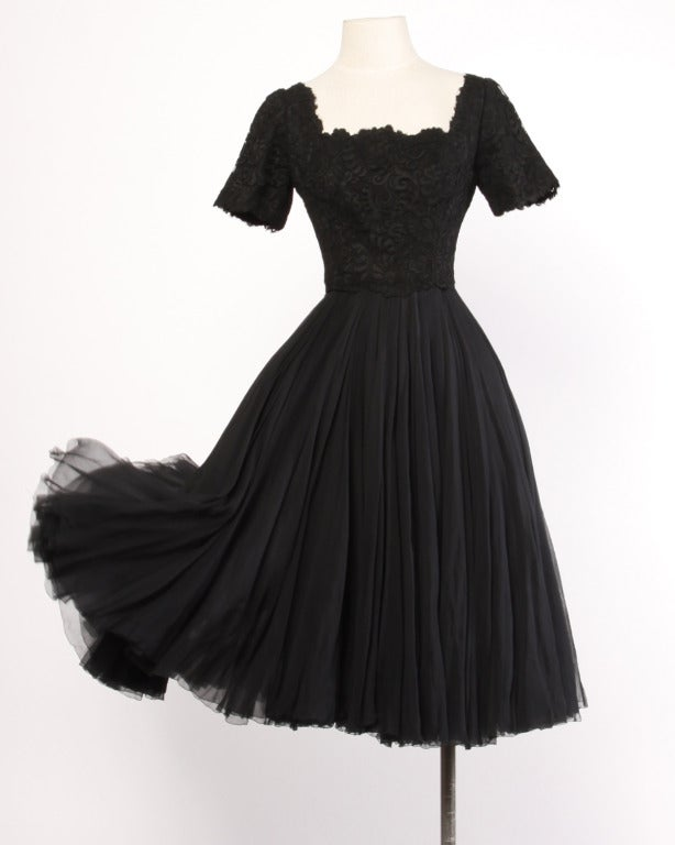 Galanos Rare Vintage 1950's Couture Full Sweep Silk Chiffon + Lace Dress 2