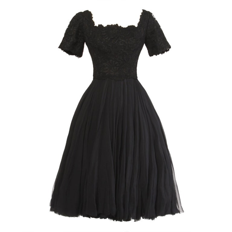 Galanos Rare Vintage 1950's Couture Full Sweep Silk Chiffon + Lace Dress 1
