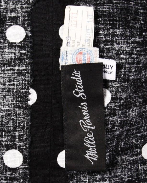 Mollie Parnis Vintage 1980s Polka Dot Ruffle Bow Dress in Black & White 2