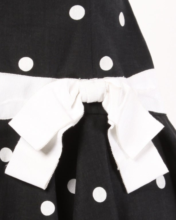 Mollie Parnis Vintage 1980s Polka Dot Ruffle Bow Dress in Black & White 4