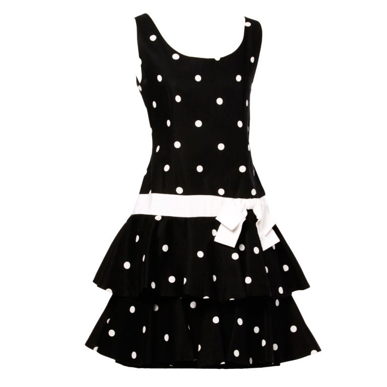 Mollie Parnis Vintage 1980s Polka Dot Ruffle Bow Dress in Black & White 1