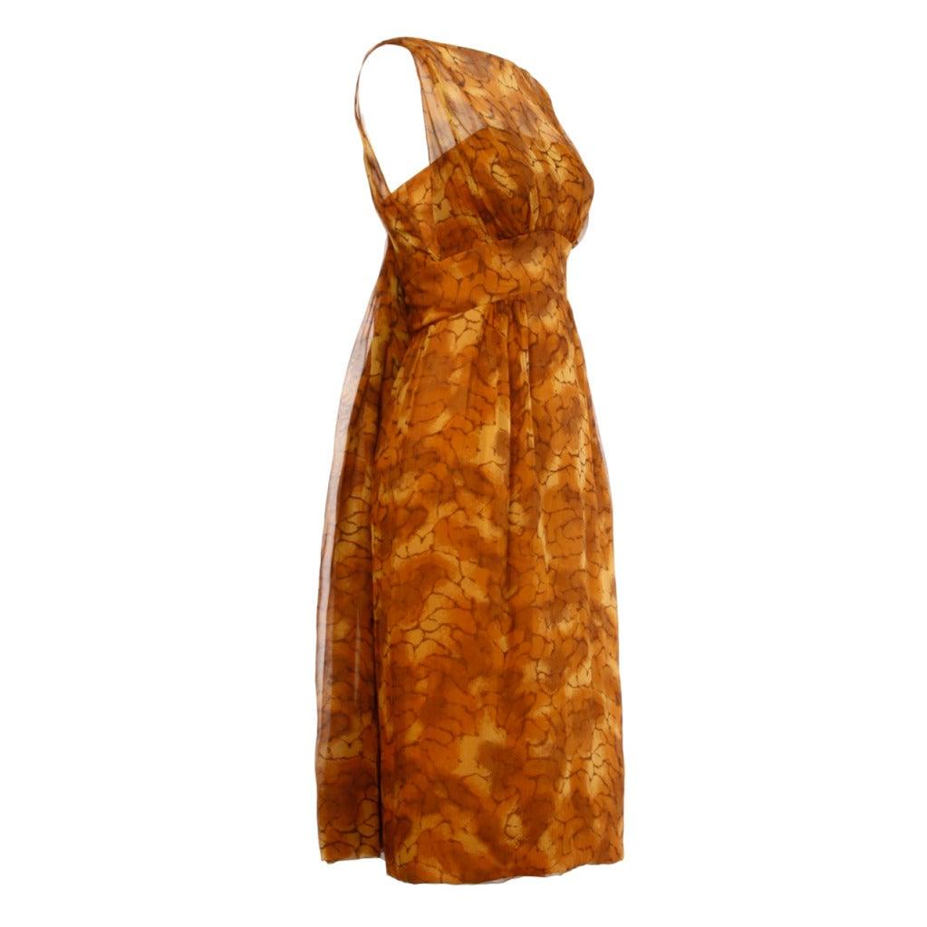 Vintage 1960s Printed Silk Chiffon Sack-back Cocktail Dress