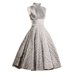Vintage 1950s Metallic Silver Quilted Full Sweep Cocktail Dress