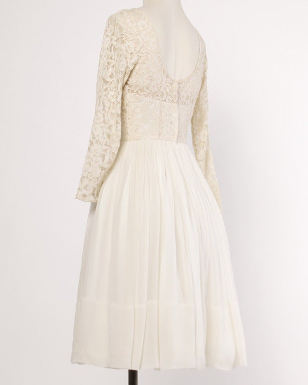 Sandra Sage Vintage 1960s Cream Nude Illusion Lace + Silk Chiffon Dress In Excellent Condition For Sale In Sparks, NV