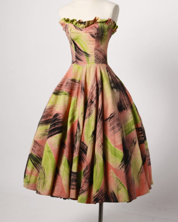 Extraordinary Vintage 1950s Hand Painted Neon Dress Wrap