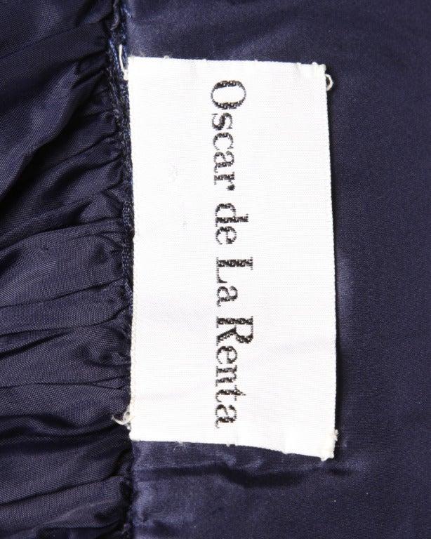 Rare Early Oscar de la Renta for I. Magnin Vintage 1960s Blue Silk Taffeta Skirt 2