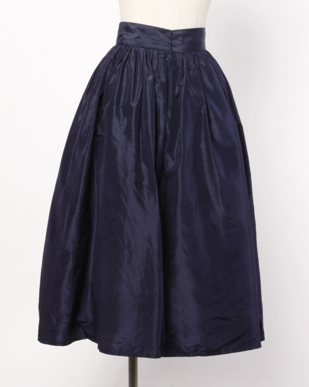 Rare Early Oscar de la Renta for I. Magnin Vintage 1960s Blue Silk Taffeta Skirt image 3