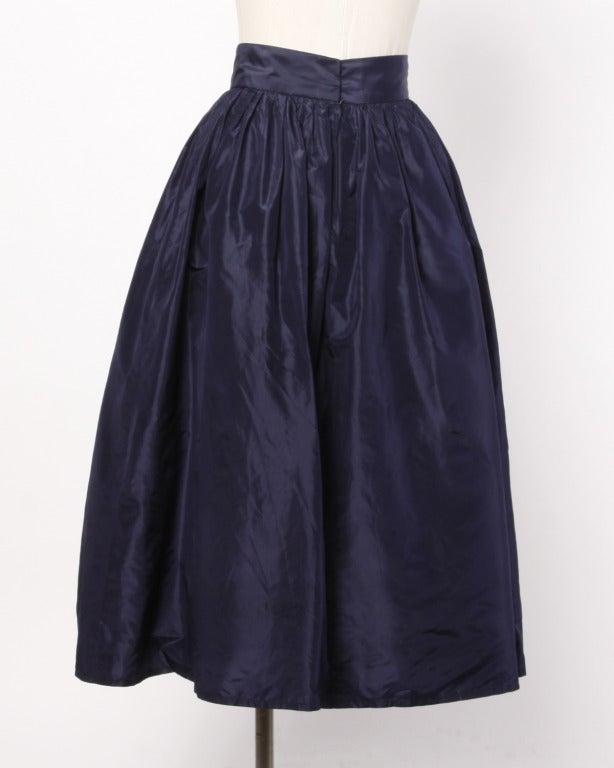 Rare Early Oscar de la Renta for I. Magnin Vintage 1960s Blue Silk Taffeta Skirt 3