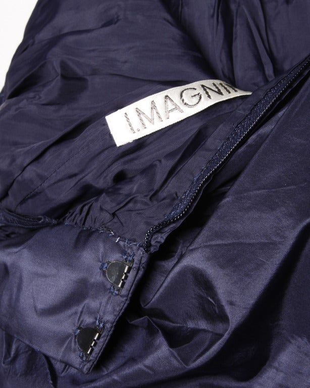 Rare Early Oscar de la Renta for I. Magnin Vintage 1960s Blue Silk Taffeta Skirt 4