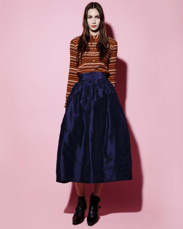 Rare Early Oscar de la Renta for I. Magnin Vintage 1960s Blue Silk Taffeta Skirt 5