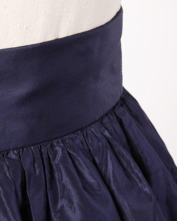 Rare Early Oscar de la Renta for I. Magnin Vintage 1960s Blue Silk Taffeta Skirt 6