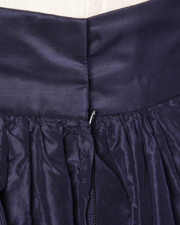 Rare Early Oscar de la Renta for I. Magnin Vintage 1960s Blue Silk Taffeta Skirt image 7