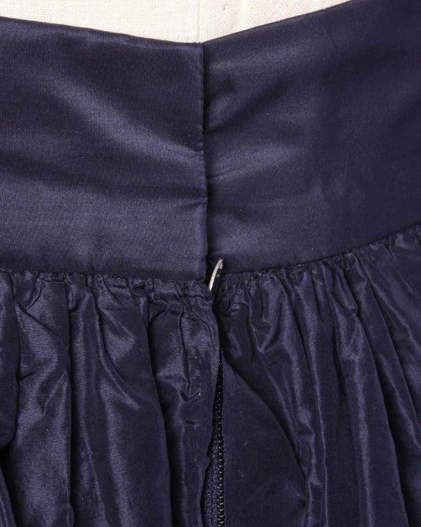 Rare Early Oscar de la Renta for I. Magnin Vintage 1960s Blue Silk Taffeta Skirt 7