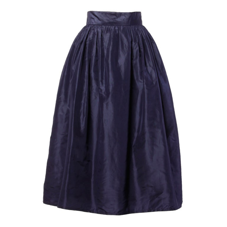 Rare Early Oscar de la Renta for I. Magnin Vintage 1960s Blue Silk Taffeta Skirt