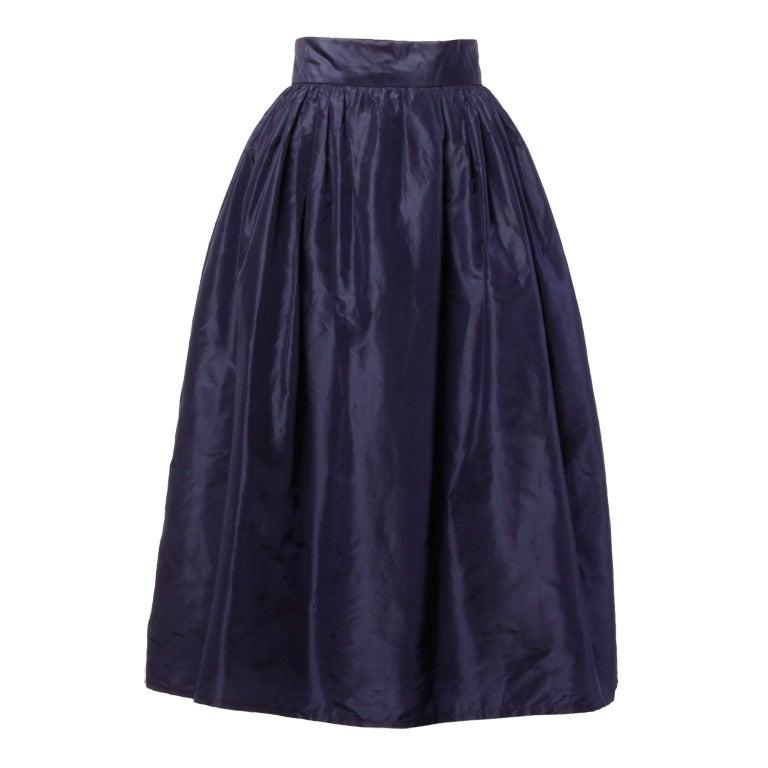 Rare Early Oscar de la Renta for I. Magnin Vintage 1960s Blue Silk Taffeta Skirt 1