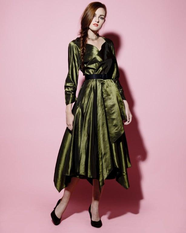 Vintage 40s Iridescent Olive Silk Taffeta Asymmetric Dress 2