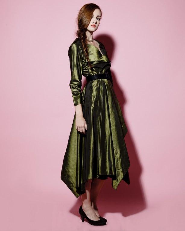 Vintage 40s Iridescent Olive Silk Taffeta Asymmetric Dress 3